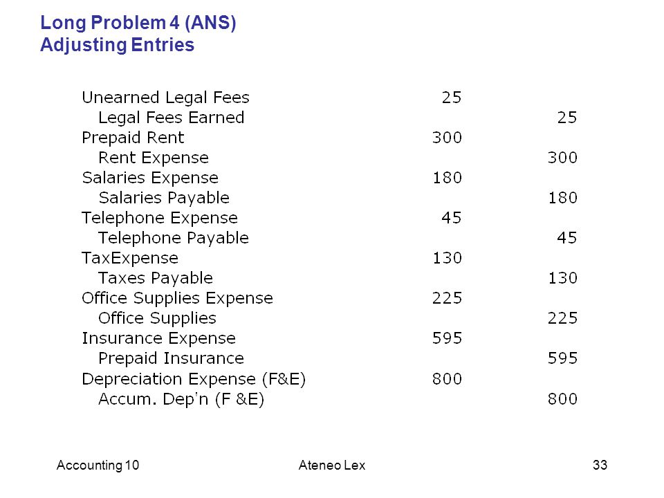Long Problem 4 (ANS) Adjusting Entries