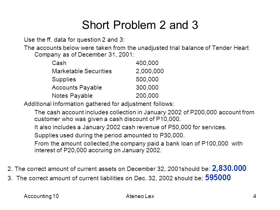 Short Problem 2 and 3 Use the ff. data for question 2 and 3: