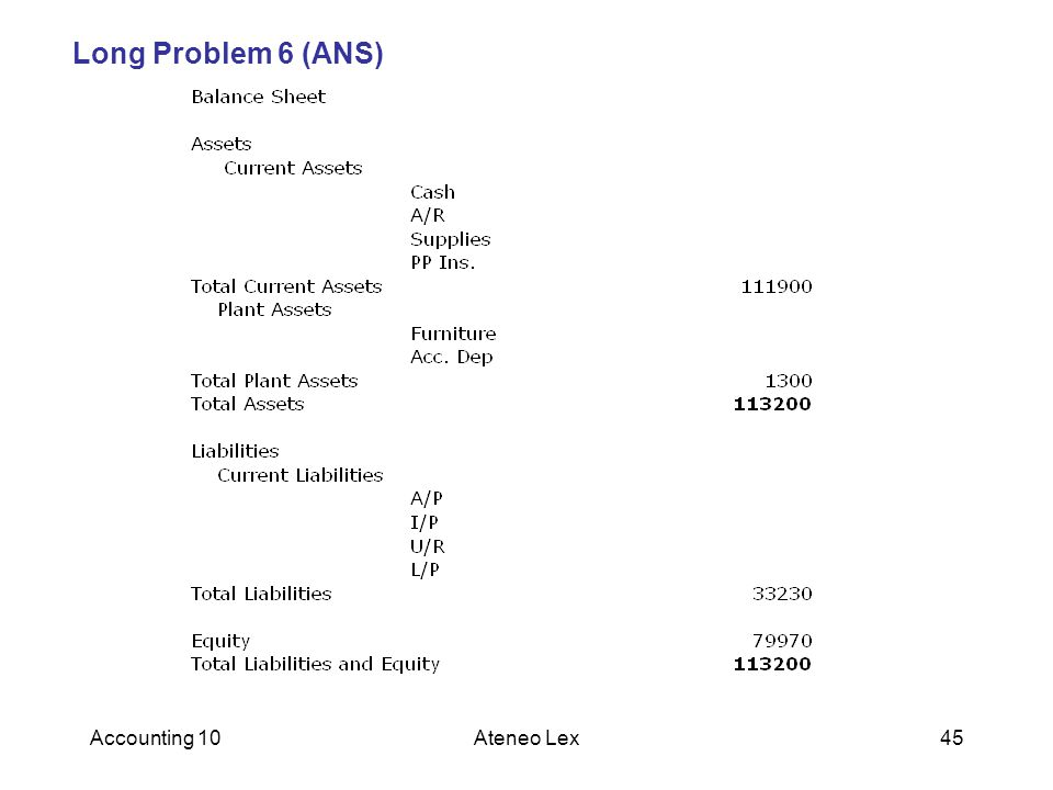 Long Problem 6 (ANS) Accounting 10 Ateneo Lex