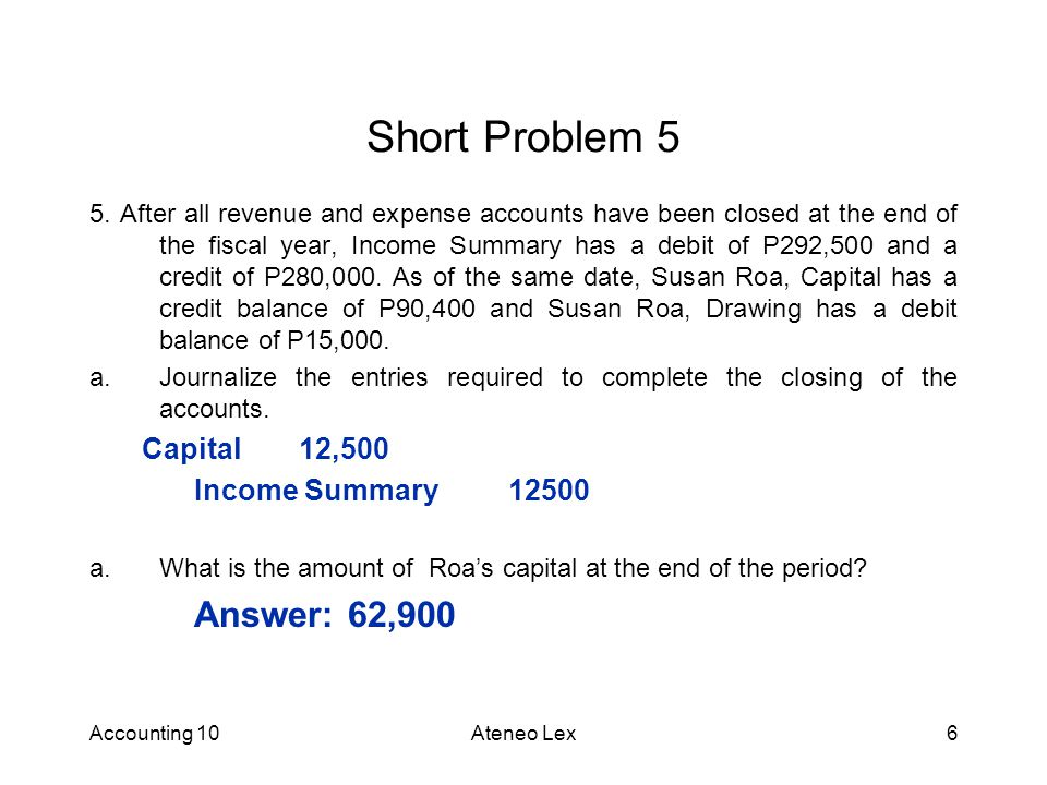 Short Problem 5 Capital 12,500 Income Summary 12500