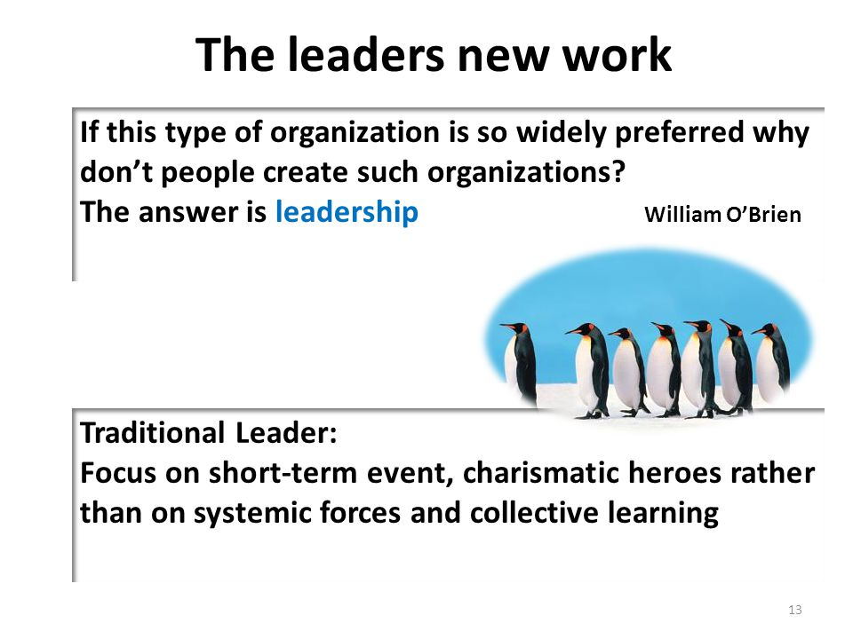 The leaders new work If this type of organization is so widely preferred why don't people create such organizations