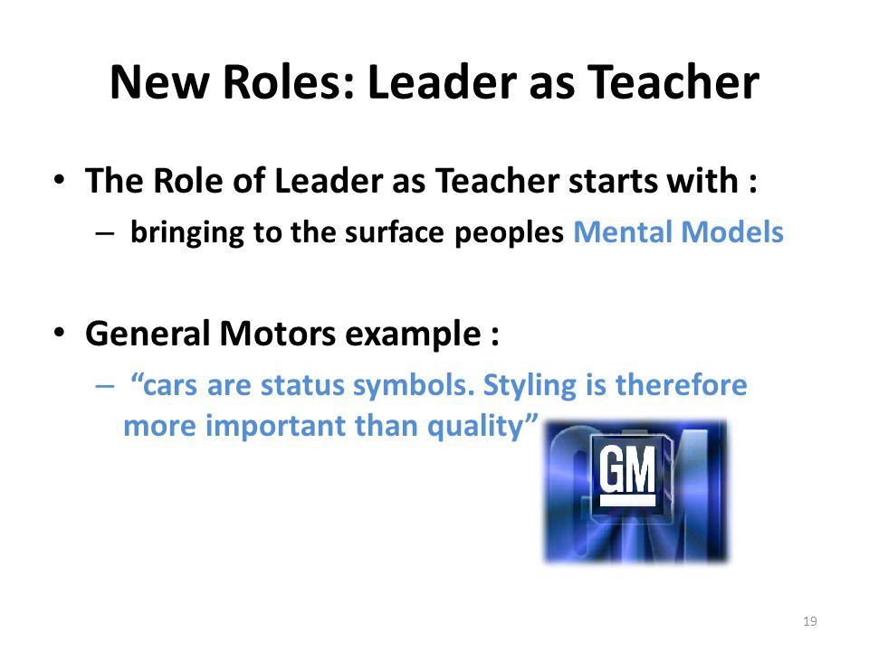 New Roles: Leader as Teacher