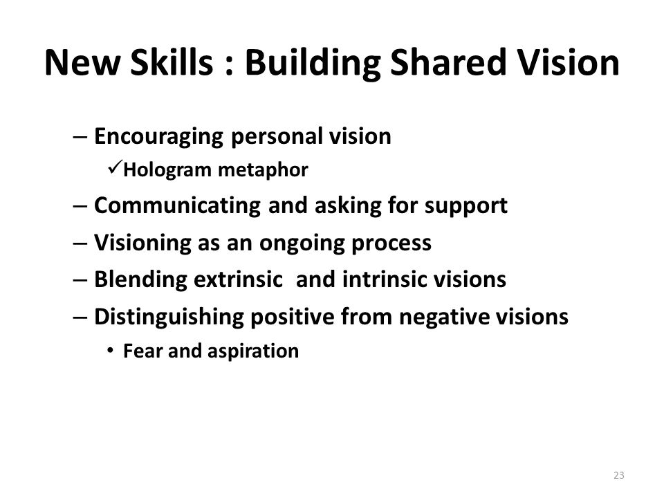 New Skills : Building Shared Vision