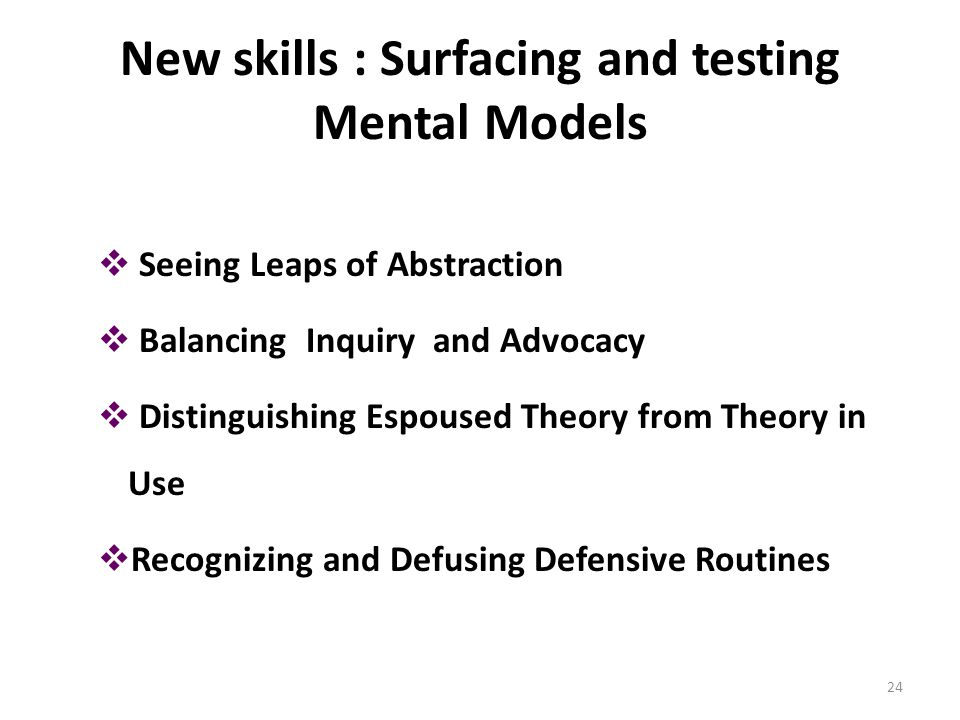 New skills : Surfacing and testing Mental Models