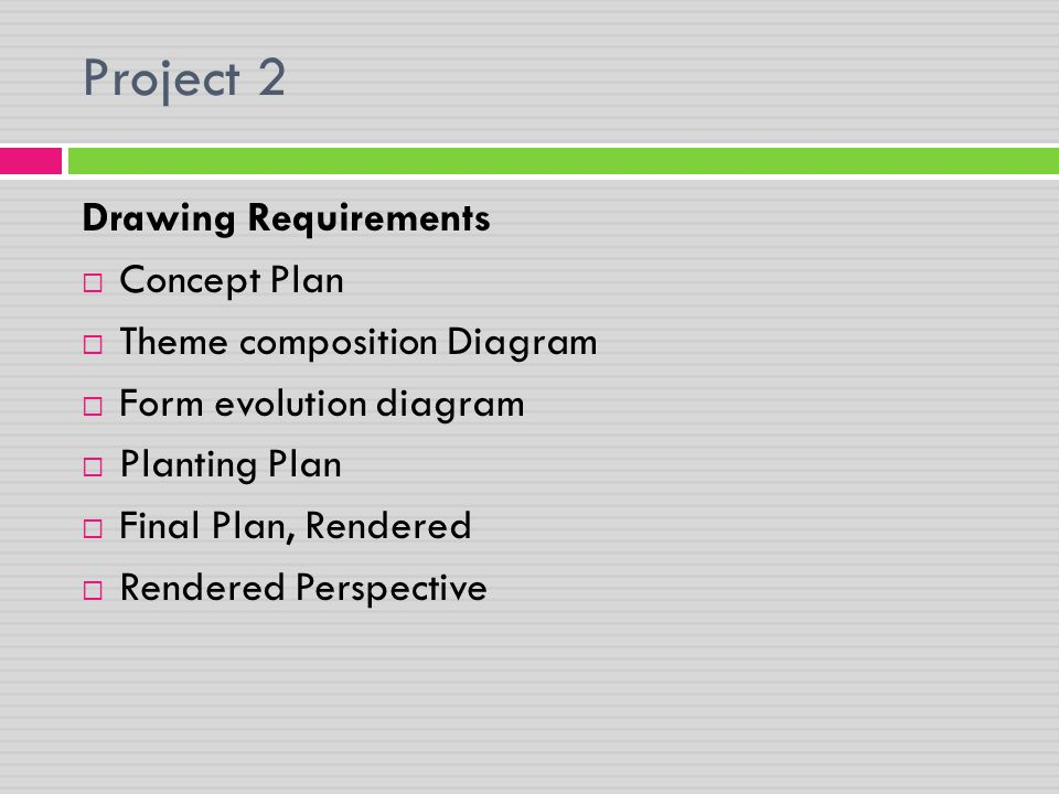 Project 2 Drawing Requirements Concept Plan Theme composition Diagram