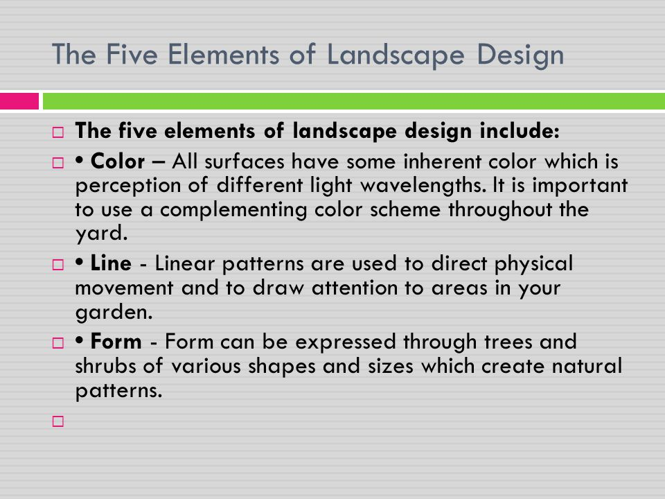 The Five Elements of Landscape Design