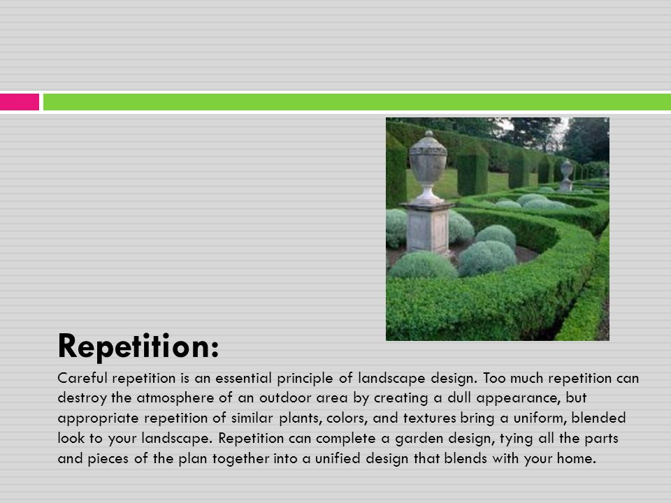 Repetition: Careful repetition is an essential principle of landscape design.