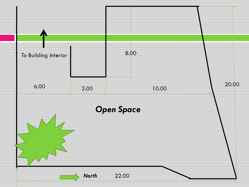 8.00 To Building Interior 20.00 6.00 3.00 10.00 Open Space North 22.00
