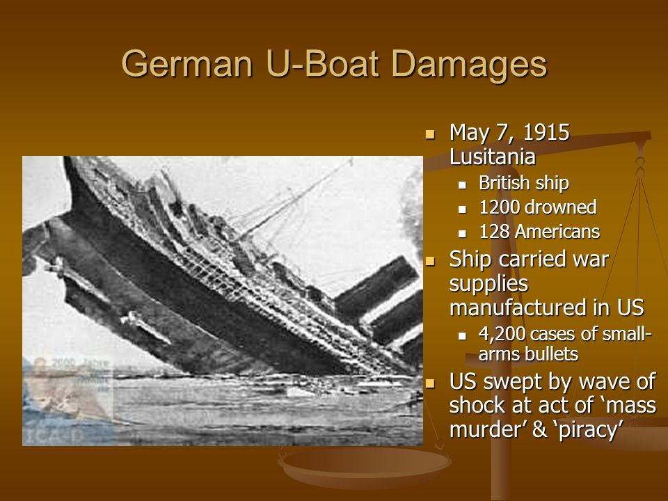 German U-Boat Damages May 7, 1915 Lusitania