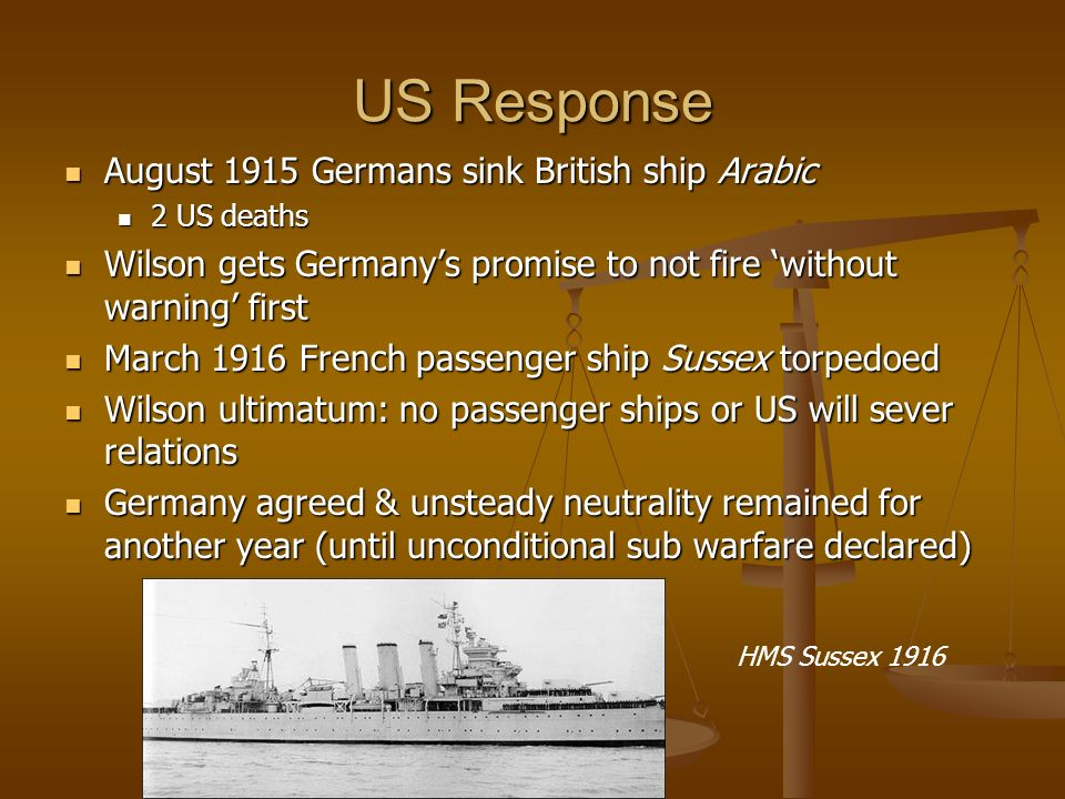 US Response August 1915 Germans sink British ship Arabic