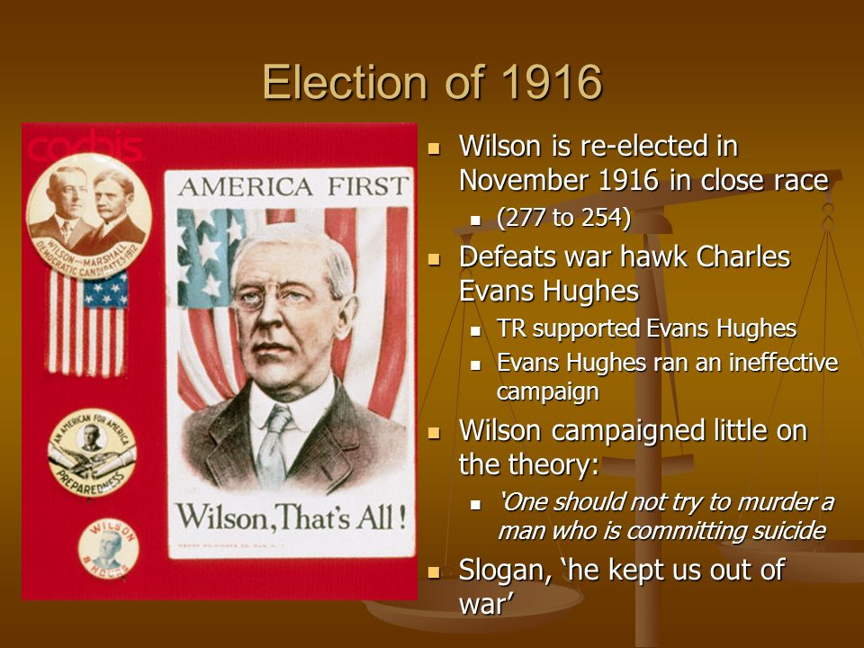 Election of 1916 Wilson is re-elected in November 1916 in close race