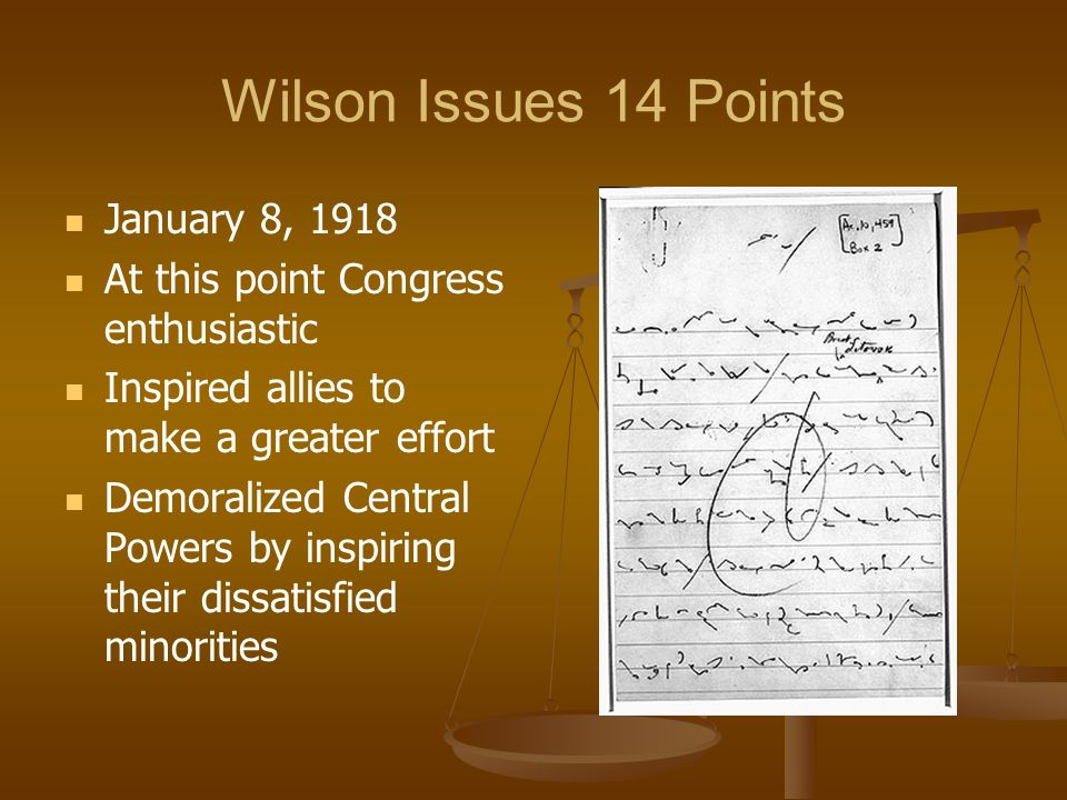 Wilson Issues 14 Points January 8, 1918