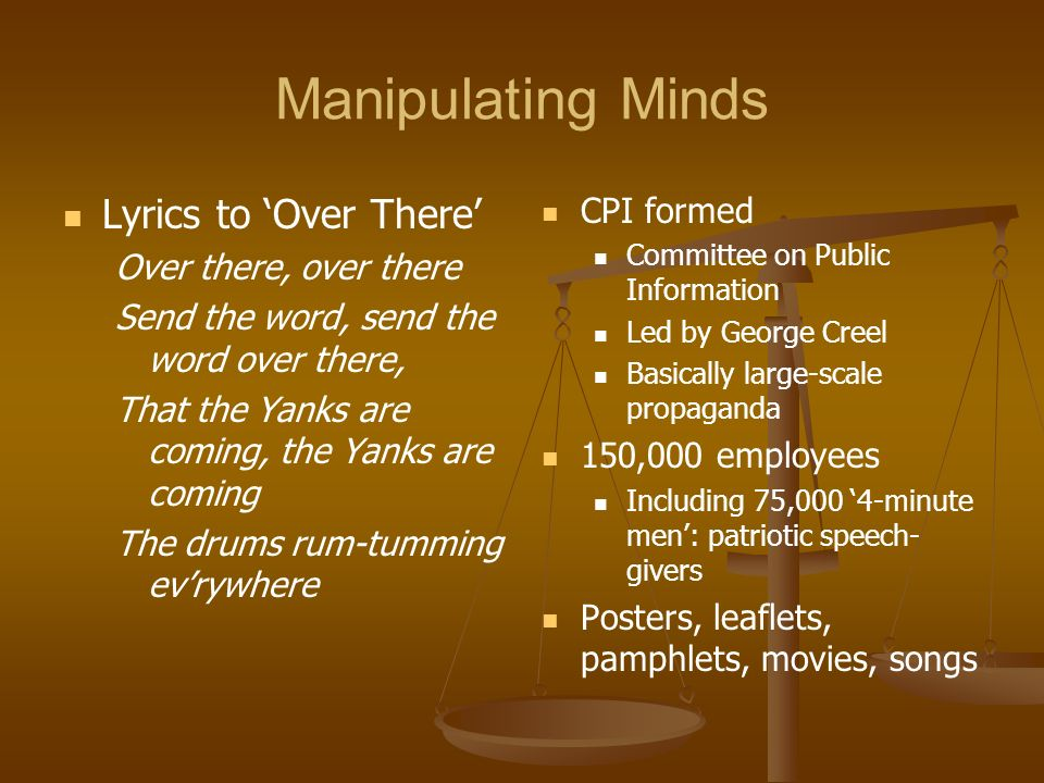 Manipulating Minds Lyrics to 'Over There' CPI formed