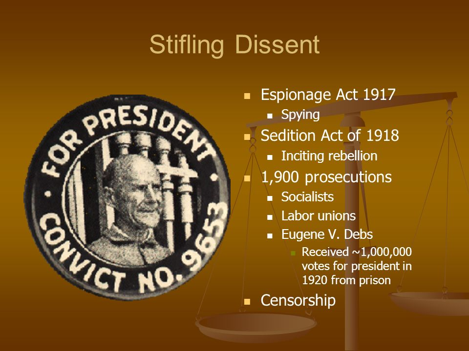 Stifling Dissent Espionage Act 1917 Sedition Act of 1918