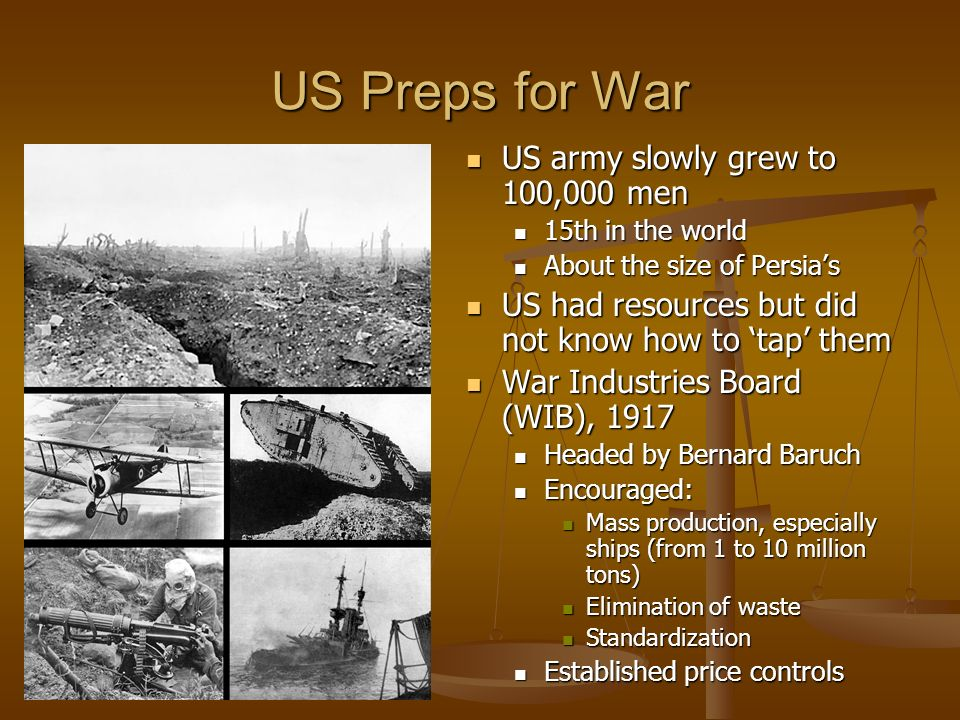 US Preps for War US army slowly grew to 100,000 men