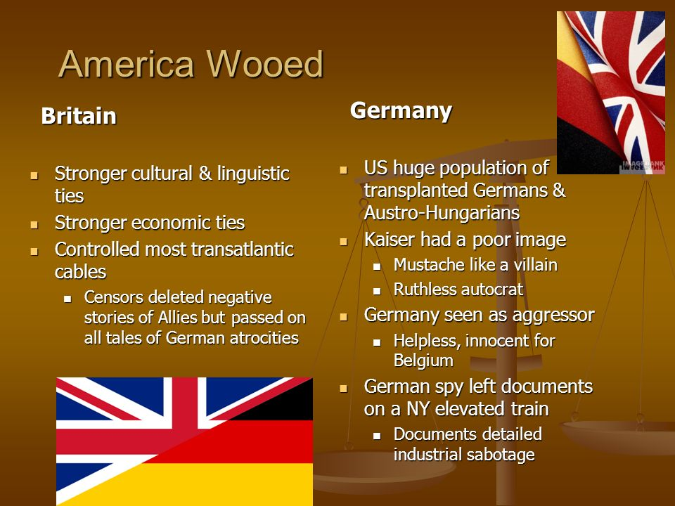 America Wooed Germany Britain