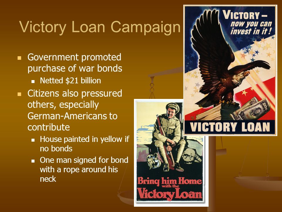 Victory Loan Campaign Government promoted purchase of war bonds