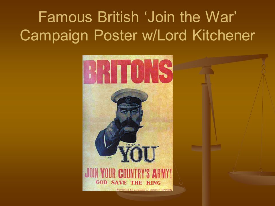 Famous British 'Join the War' Campaign Poster w/Lord Kitchener