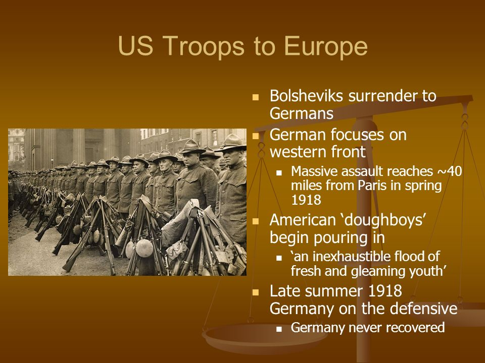 US Troops to Europe Bolsheviks surrender to Germans