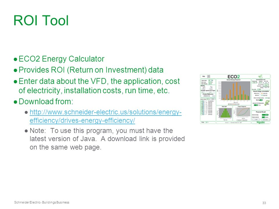 ROI Tool ECO2 Energy Calculator