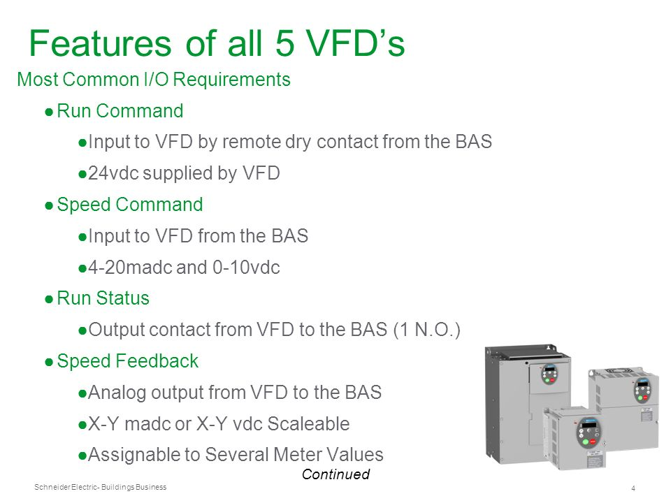 Features of all 5 VFD's Most Common I/O Requirements Run Command