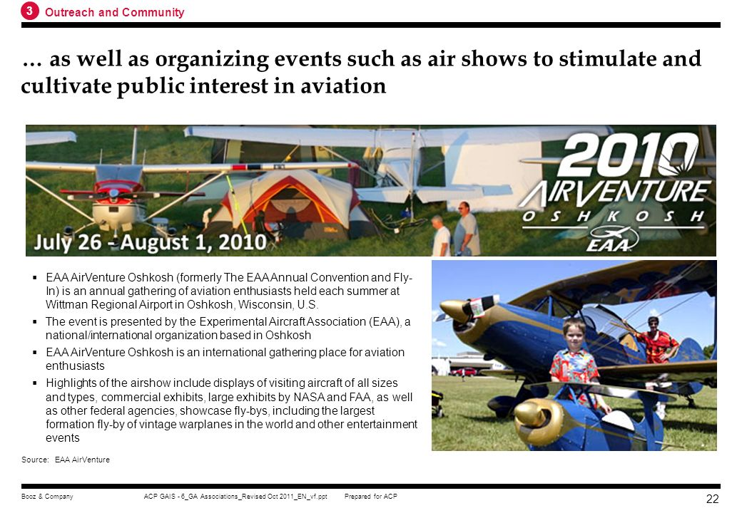 3 Outreach and Community. … as well as organizing events such as air shows to stimulate and cultivate public interest in aviation.