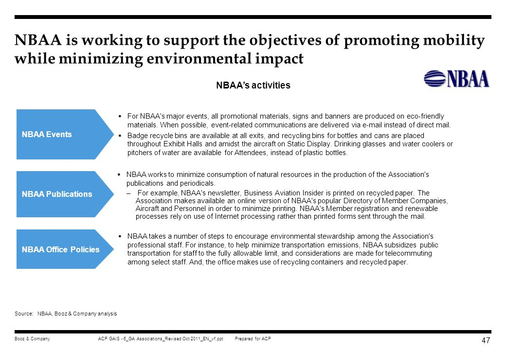 NBAA is working to support the objectives of promoting mobility while minimizing environmental impact