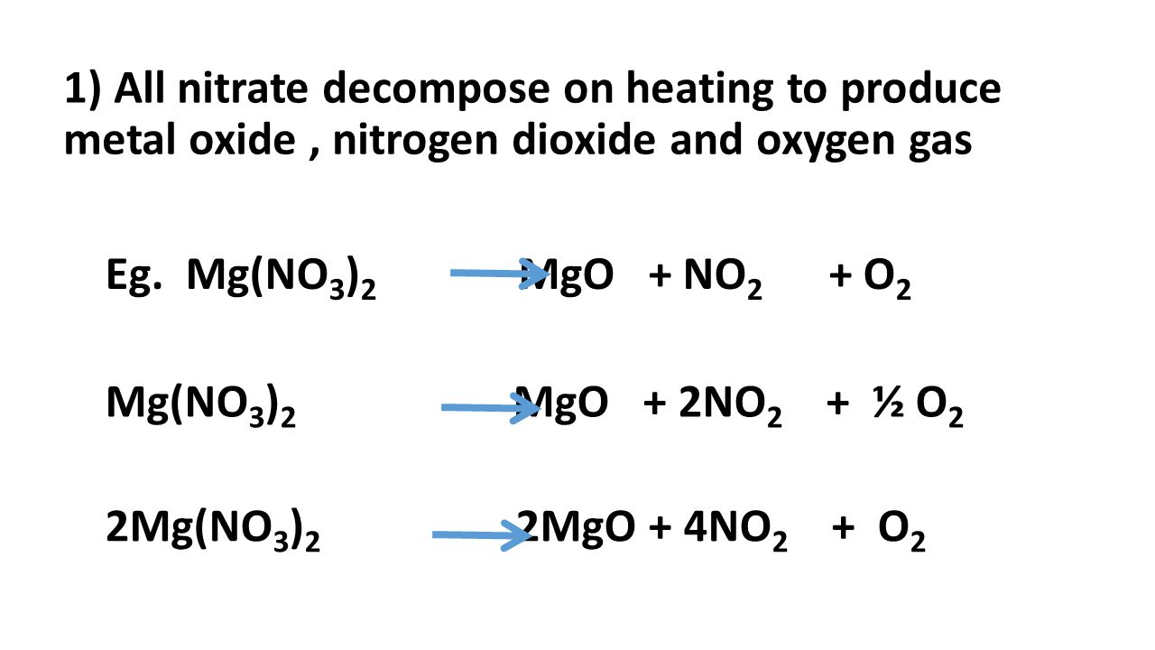 1) All nitrate decompose on heating to produce metal oxide , nitrogen dioxide and oxygen gas