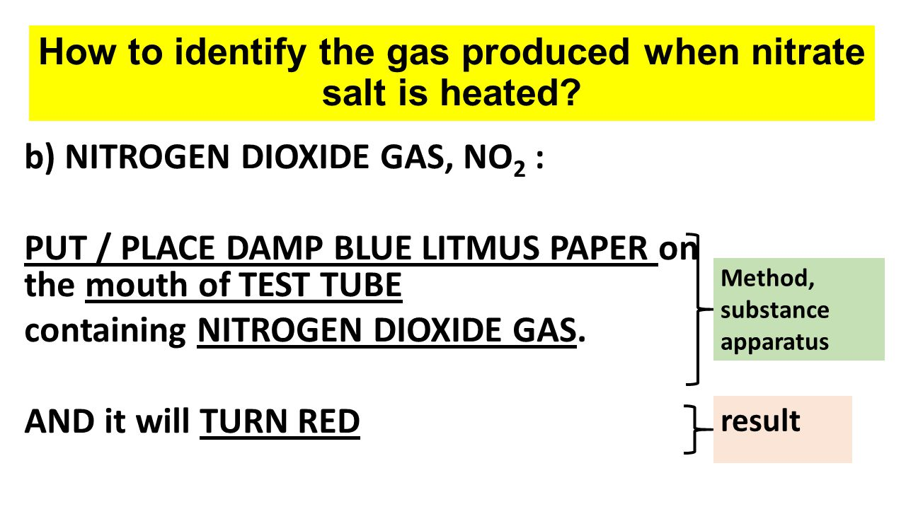 How to identify the gas produced when nitrate salt is heated