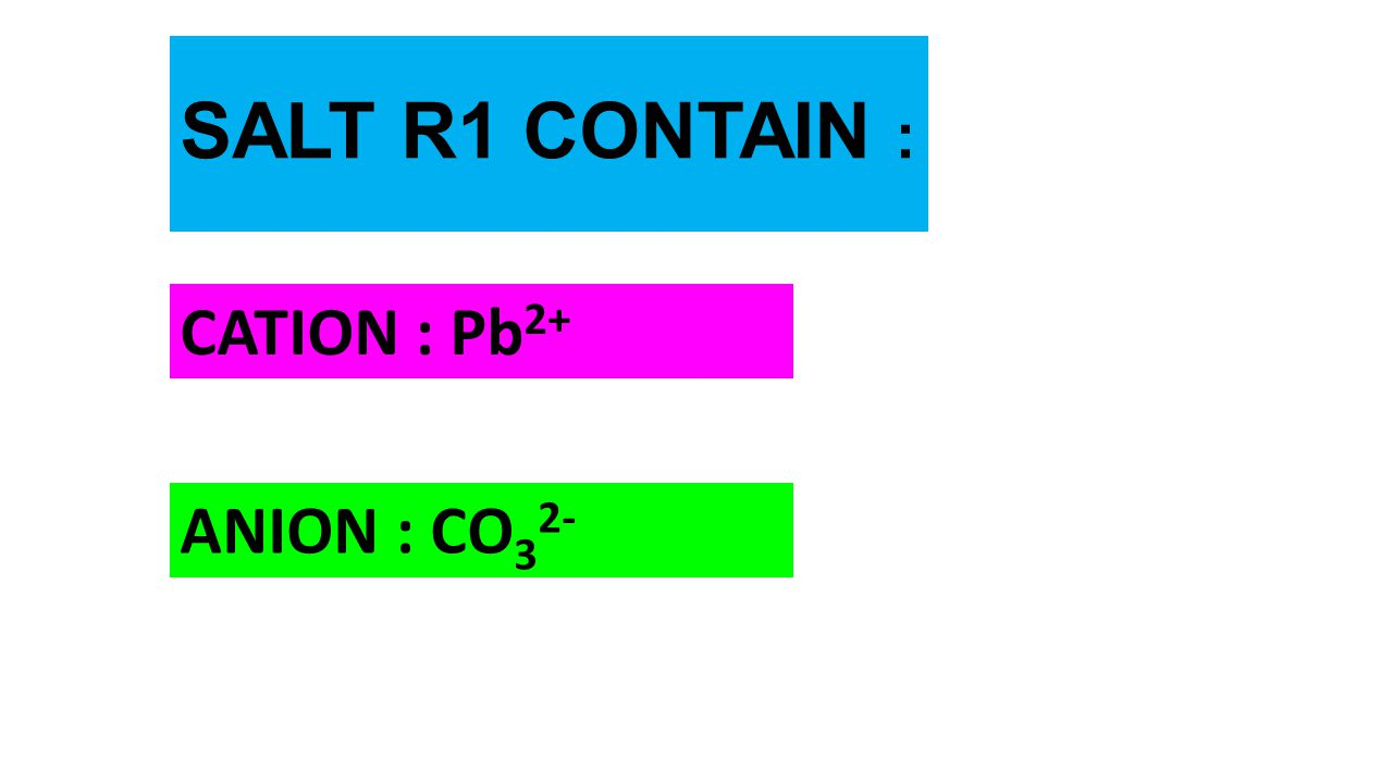 SALT R1 CONTAIN : CATION : Pb2+ ANION : CO32-