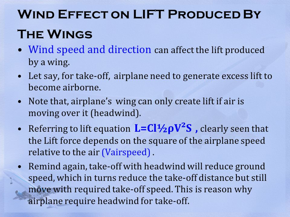 Wind Effect on LIFT Produced By The Wings