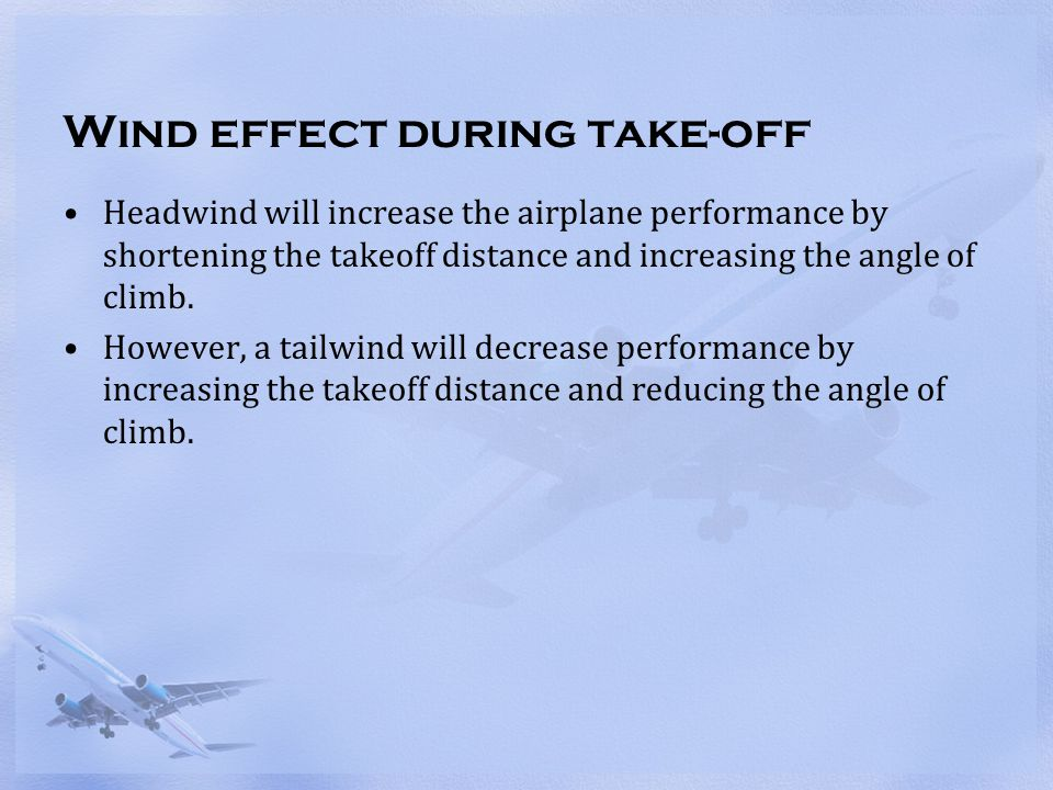 Wind effect during take-off