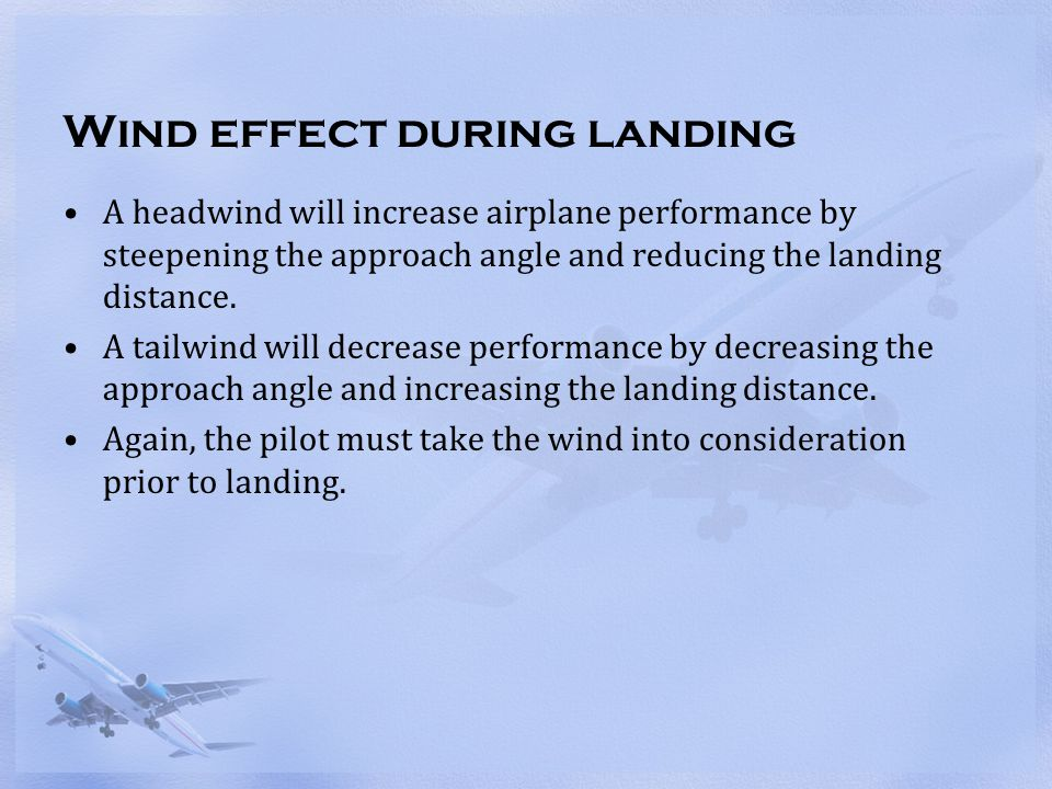 Wind effect during landing