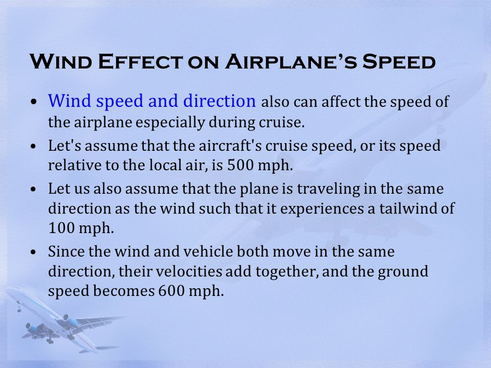 Wind Effect on Airplane's Speed
