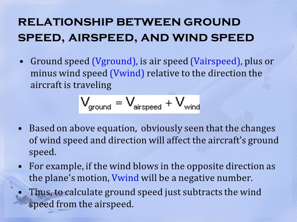 relationship between ground speed, airspeed, and wind speed