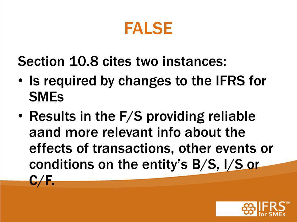 FALSE Section 10.8 cites two instances: