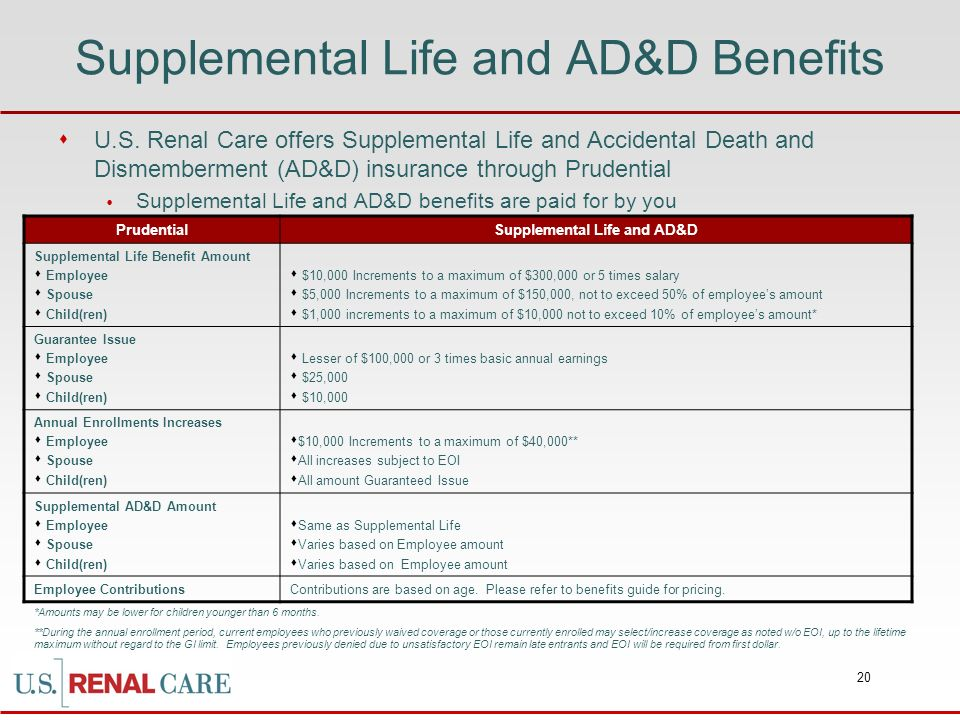 Supplemental Life and AD&D Benefits