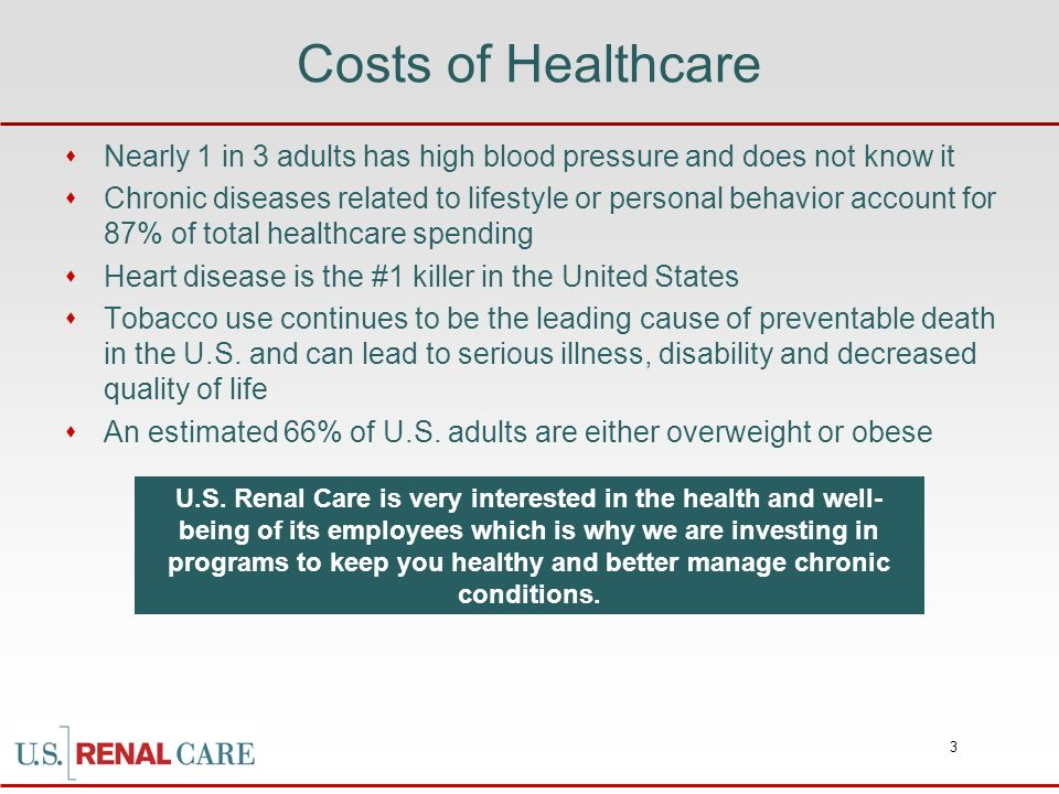 Costs of Healthcare Nearly 1 in 3 adults has high blood pressure and does not know it.