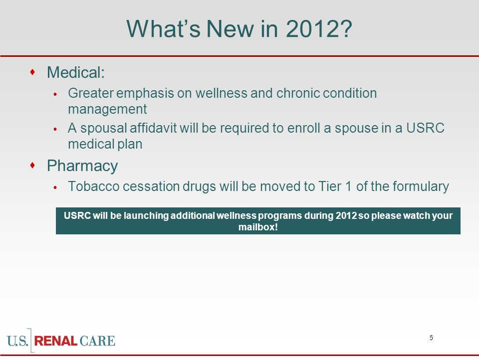 What's New in 2012 Medical: Pharmacy