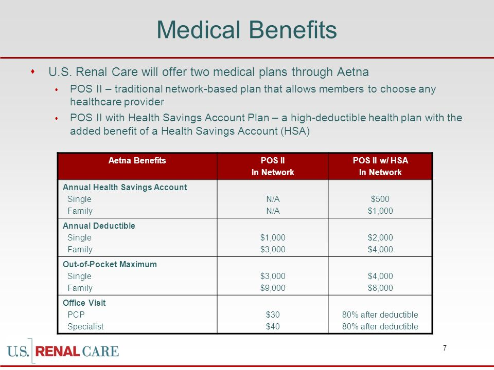 Medical Benefits U.S. Renal Care will offer two medical plans through Aetna.