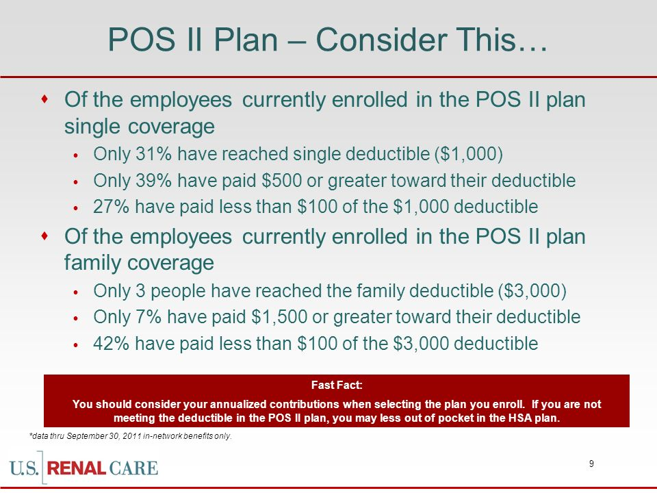 POS II Plan – Consider This…