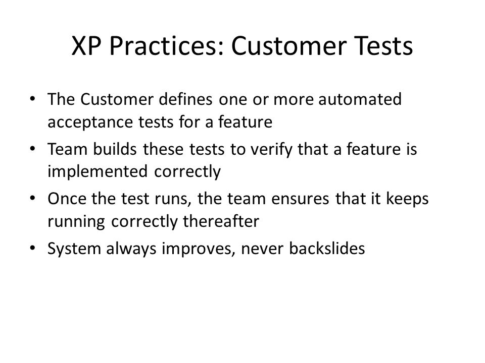 XP Practices: Customer Tests