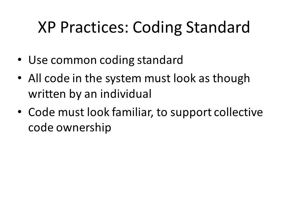 XP Practices: Coding Standard