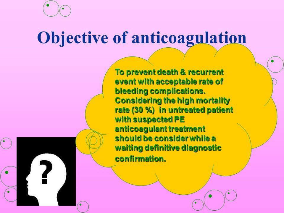 Objective of anticoagulation