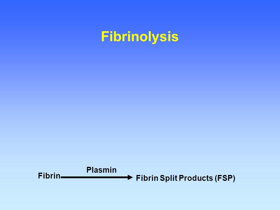 Fibrinolysis Plasmin Fibrin Fibrin Split Products (FSP)