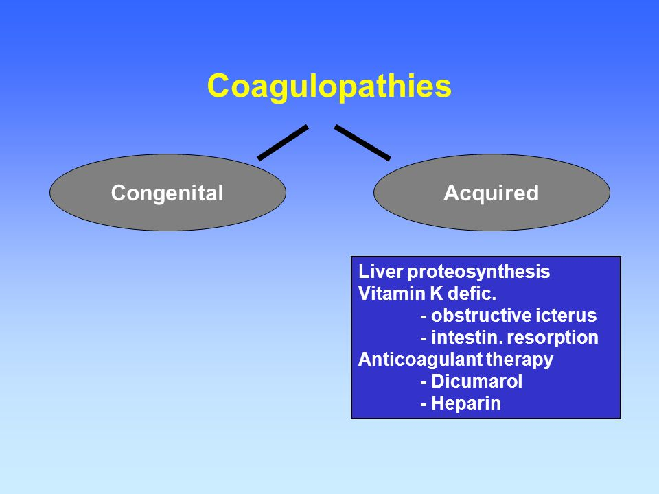 Coagulopathies Congenital Acquired Liver proteosynthesis