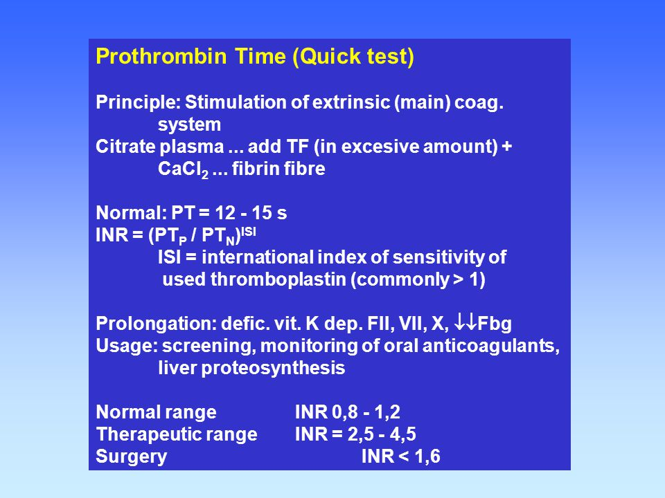 Prothrombin Time (Quick test)