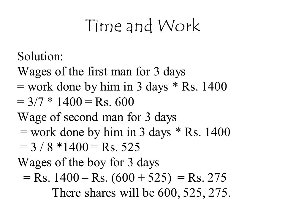Time and Work Solution: Wages of the first man for 3 days
