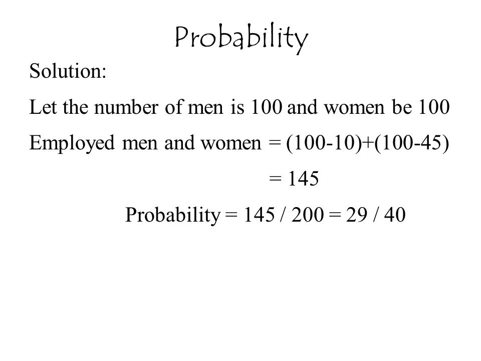 Probability Solution: Let the number of men is 100 and women be 100