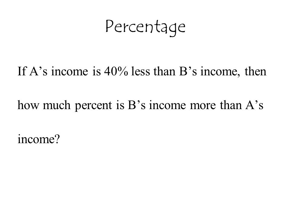 Percentage If A's income is 40% less than B's income, then